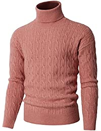 Mens Casual Slim Fit Pullover Sweaters Knitted Turtleneck Long Sleeve Twisted