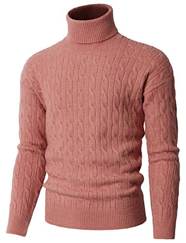 H2H Mens Ribbed Slim Fit Knitted Pullover Turtleneck Sweater Pink US L/Asia L (KMOSWL0235)