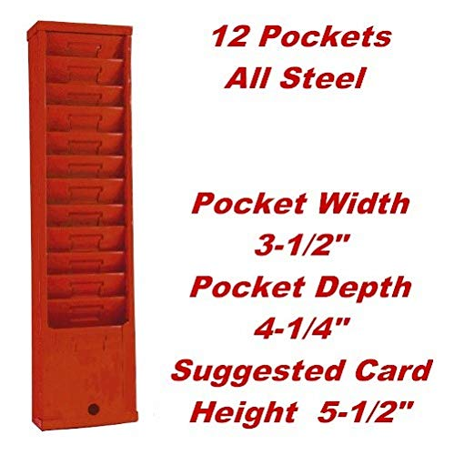 Metal 3-1/2'' Width Time Card Holder Rack for 5-1/2'' Cards 12-Slots/Pockets-Red Model 155H by VIC