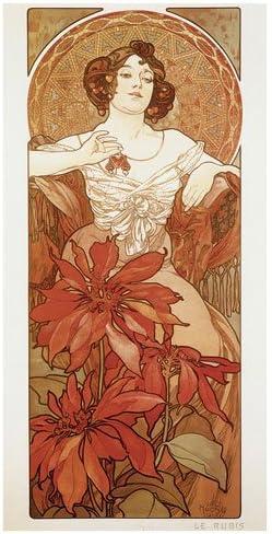 Precious Stones Ruby By Alphonse Mucha AAM039 Art Print A4 A3 A2 A1