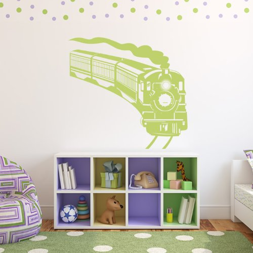 Curved Steam Train Wall Sticker Train Wall Decal Art available in 5 Sizes and 25 Colours Large Black