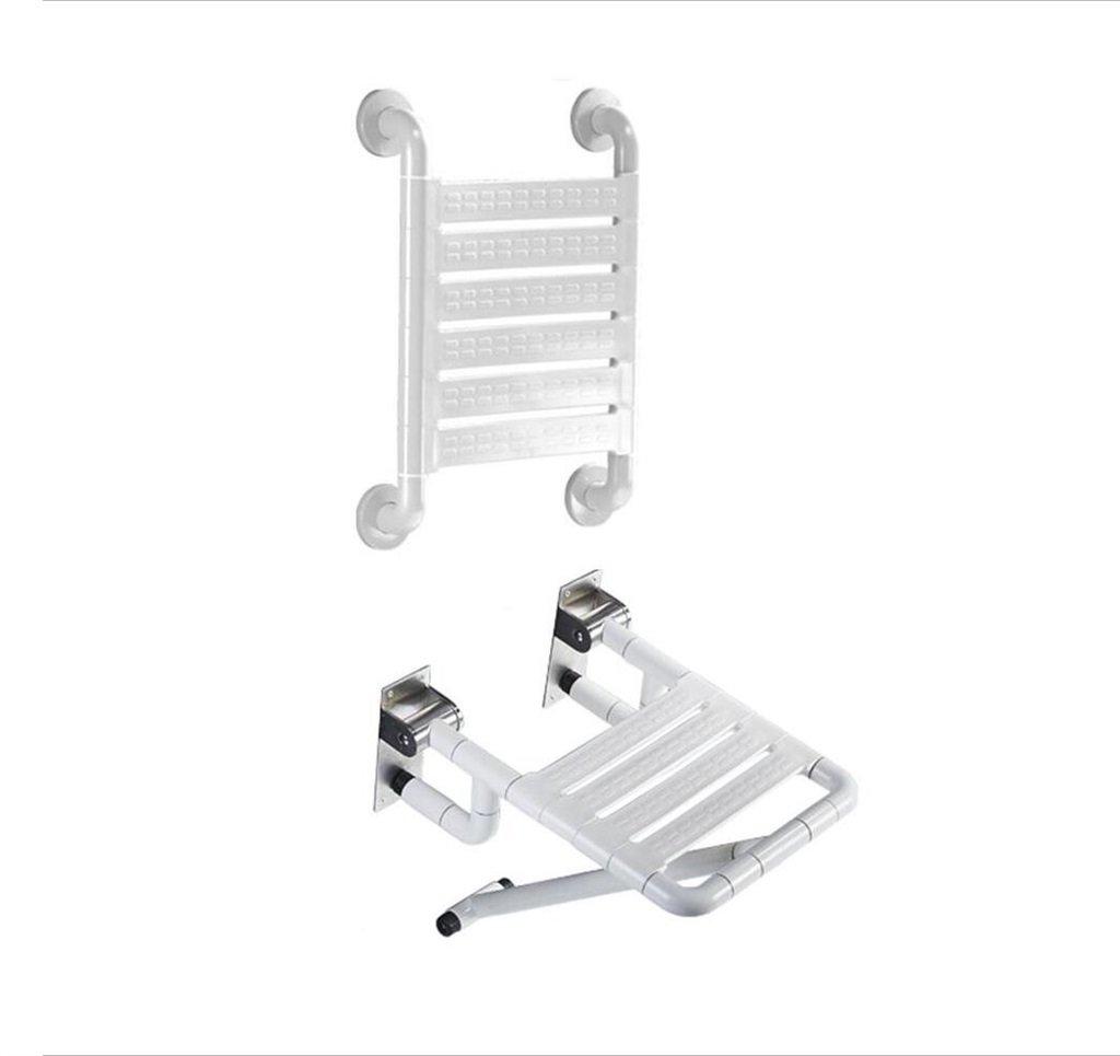 壁掛け式折りたたみ式シャワーチェアバスルームスツールバス用スツール(背もたれを持つ高齢者、大人、妊婦用)ノンスリップ(白) (色 : 白) B07F41DRMP  白