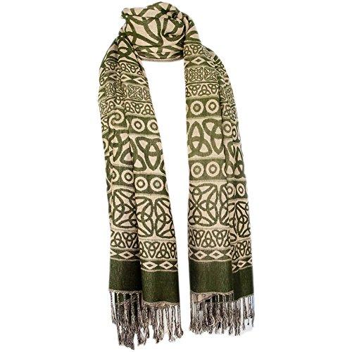 Ladies Celtic Scarf, Pashmina Wool & Silk, Dark -