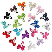 """Laribbons 21 Pack 2.5"""" Girls Hair Bow Snap Clips, Barrettes"""