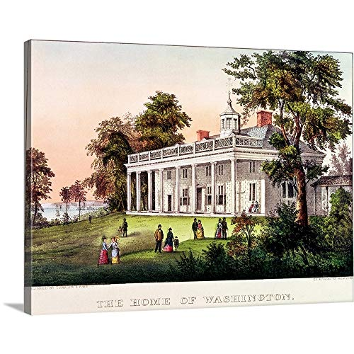 (GREATBIGCANVAS Gallery-Wrapped Canvas Entitled The Home of George Washington, Mount Vernon, Virginia, published by Nathaniel Currier by American School 36