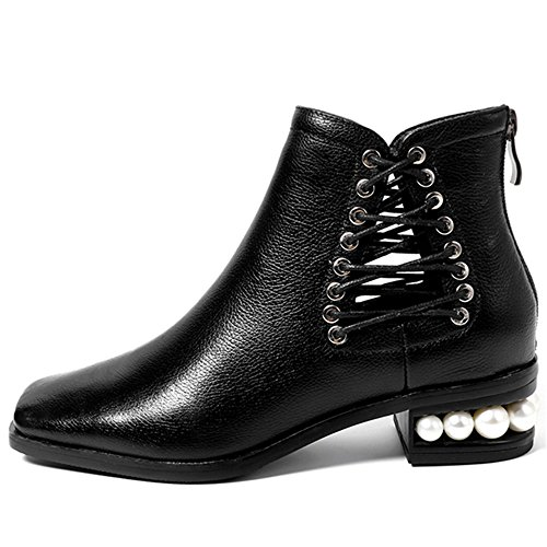 Square Genuine Ankle Seven Pearls Back Zip Toe Black Chunky Women's Heel Boots Handmade Leather Nine 5f7qxwIf