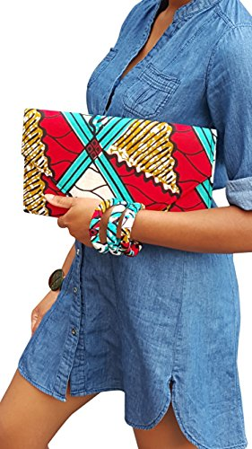 Red, Turquoise, white African Print Clutch Purse