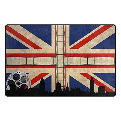 - WOZO Retro Union Jack British Area Rug Rugs Non-Slip Floor Mat Doormats Living Room Bedroom 31 x 20 inches