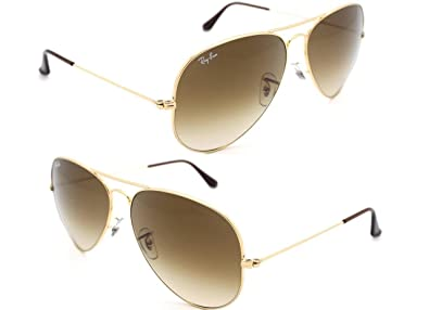 authentic ray ban aviator sunglasses  authentic ray ban aviator rb 3025 001/51 62mm gold / brown gradient lenses