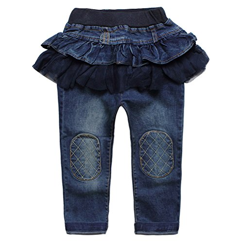 Girls Long Skirt Denim (eTree Girls' Skirts Culottes Jeans Denim Patchs Yarn Tutu Pants Size 4)