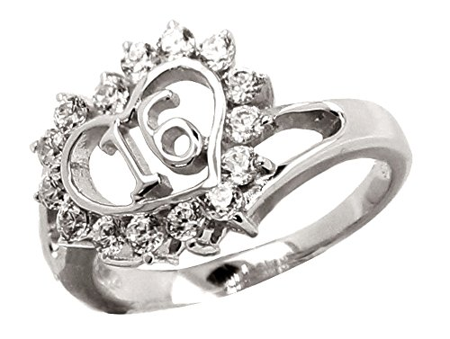 Solid Sterling Silver Sweet 16 Crystal Heart Ring for $<!--$54.95-->