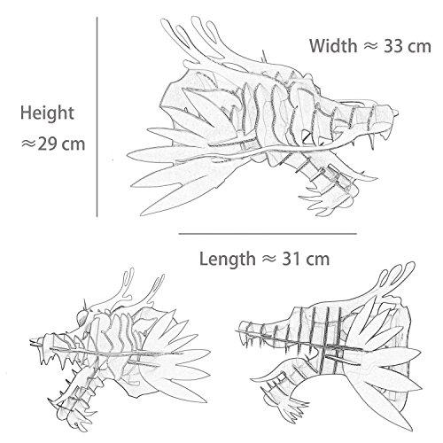 Papel eléctrica DIY Cartón Cabeza de dragón Pared decoración Animal Cabeza Colgar en la Pared (pequeñas de tamaño, marrón), BU, Small: Amazon.es: Hogar