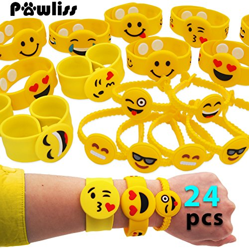 Pawliss Emoji Bracelets Wristband, Birthday Party Favors Supplies for Kids Girls, Emoticon Toys Prizes Gifts, Rubber Band Bracelet Silicone Writbands 24 Pack -