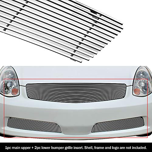 APS Compatible with 05-06 Infiniti G35 Sedan Billet Grille Grill Combo Insert N87878A (Infiniti G35 Grill)