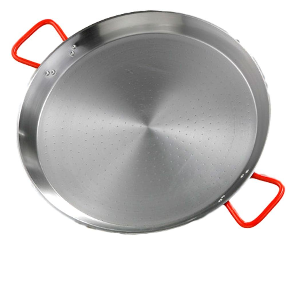 Paellera Polished Steel Paella Pan with Red Handles -22cm La Ideal La Ideal_10022