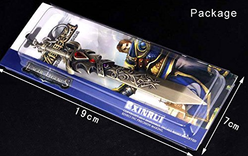 6 Inch Length League of Legends LOL the Might of Demacia Garen Weapon Sword Large Size Metal Pendant Key Ring Keychain in Box Photo #3
