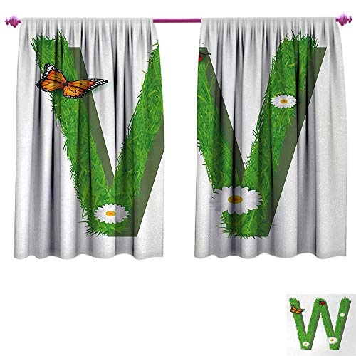 Anniutwo Letter W Customized Curtains Uppercase W Nature Influences Butterfly Freedom Inspirations of Summer Kids Window Curtain Drape W55 x L45 Green Multicolor