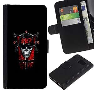 // PHONE CASE GIFT // Moda Estuche Funda de Cuero Billetera Tarjeta de crédito dinero bolsa Cubierta de proteccion Caso Samsung Galaxy S6 / Slayer Dark Goth Skull /