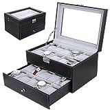 Nasion.V 20 Grids Watch Display Case Lockable Watch Storage Jewelry Organizer Box with Black PU Leather