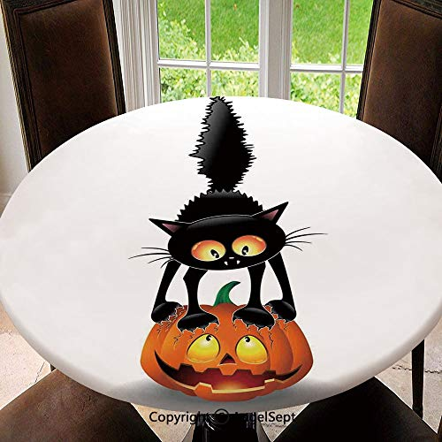 Spillproof Elastic Edged Tablecloths for Round Tables 47 Inch,Black Cat on Pumpkin Spooky Cartoon Characters Halloween Humor Art Indoor Outdoor Camping Picnic Circle Table Cloth,Orange -