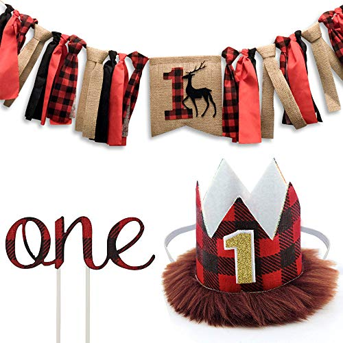 Jblcc Pack of 3 - Lumberjack First Birthday Highchair Banner - Buffalo Check First Birthday Crown - Buffalo Plaid 1st Birthday Cake Topper - Lumberjack/Buffalo Plaid Baby Boy First Birthday