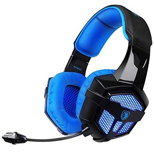 Gaming Headset with Mic Volume Control LED, Yanni Sades SA806 3.5mm Wired Computer Over Ear Stereo Headphones for PC MAC Notebook Gamers Smart Phone Mobiles iPad(Black Blue) by YANNI