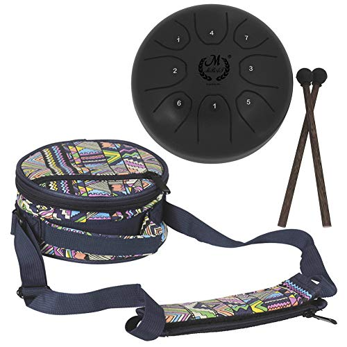 5.5 Inch Mini Steel Tongue Drum with Musical Mallet and Travel Bag for Personal Meditation, Yoga, Zen (Black) ()