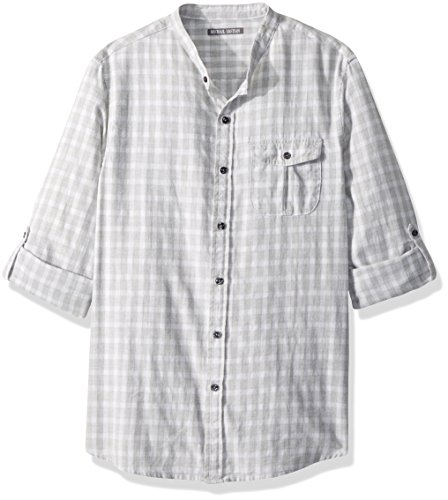 Michael Bastian Men's Long Sleeve Band Collar Windowpane Plaid Woven Shirt, Heather Gray, Medium from Michael Bastian