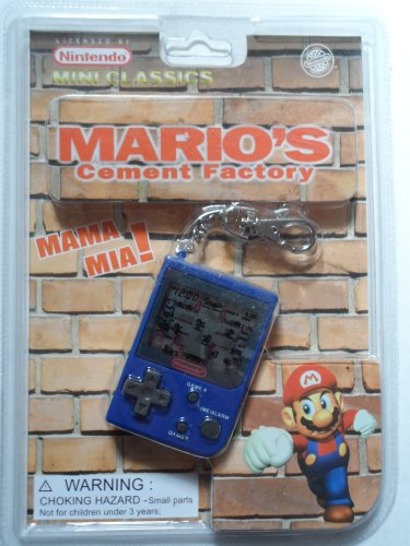 1998 Nintendo Mini Classics: Mario's Cement Factory / Hand-Held Game W/Attached Keychain (Mini Watch Keychain)