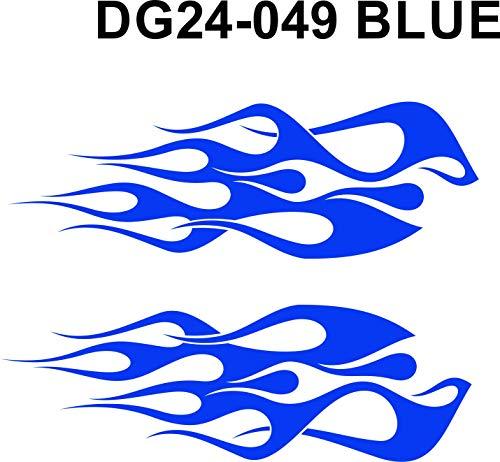 Wild Dingos LLC - ST1 Winglets - Flame Decal Kit Multi-Color Golf Cart UTV RC ATV Mower Motorcycle Tank (B - Medium, DG24-049 Blue)
