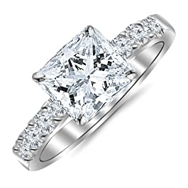 1.10 Carat Princess Cut/Shape 14K White Gold Classic Prong Set Diamond Engagement Ring with a 0.55 cwt, I-J Color, Eye Clean Clarity Center Stone