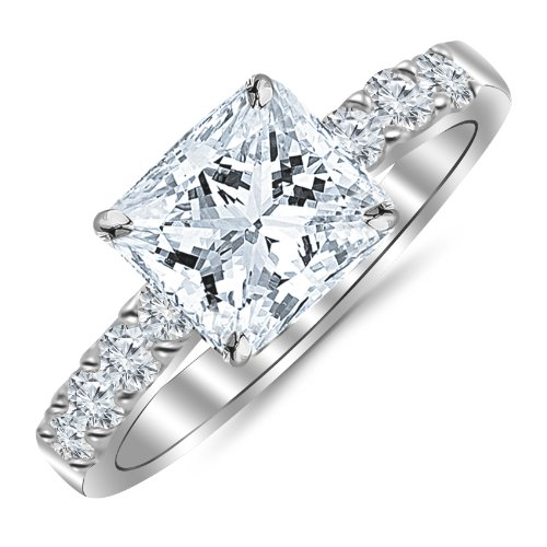 1.10 Carat Princess Cut/Shape 14K White Gold Classic Prong Set Diamond Engagement Ring with a 0.60 cwt, I-J Color, Eye Clean Clarity Center Stone