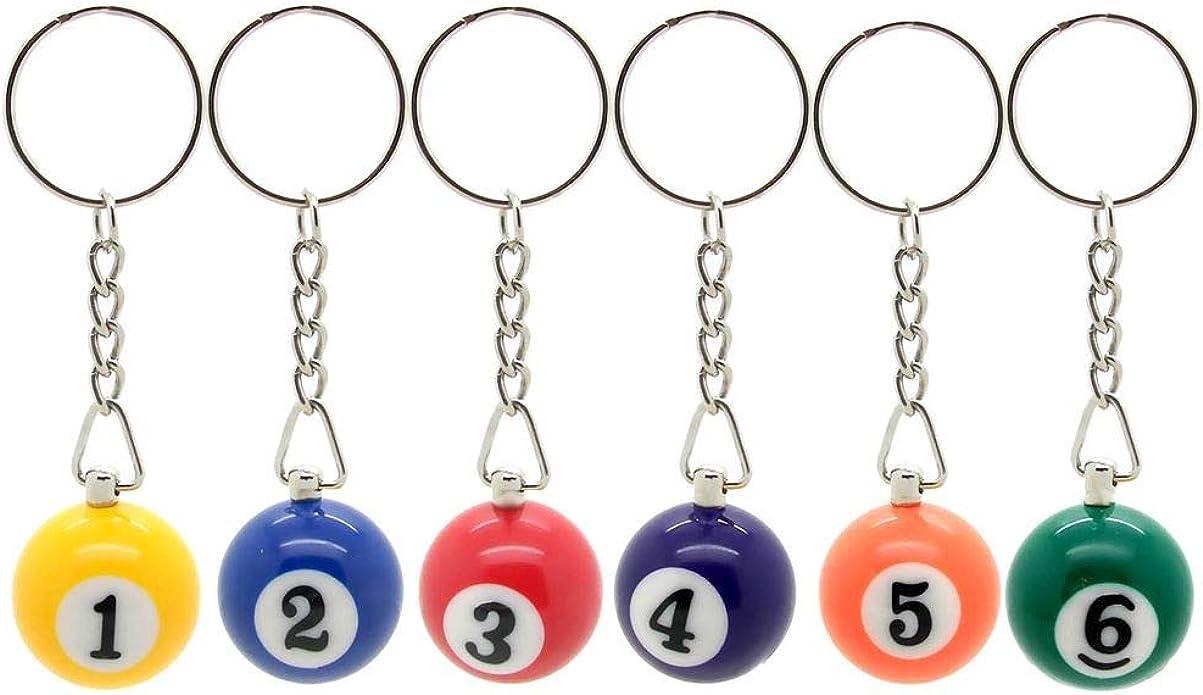 tumundo Set de 6 Piezas bolas de billar carambola colgante con anillo negro azul verde rojo naranja número 1-6: Amazon.es: Joyería