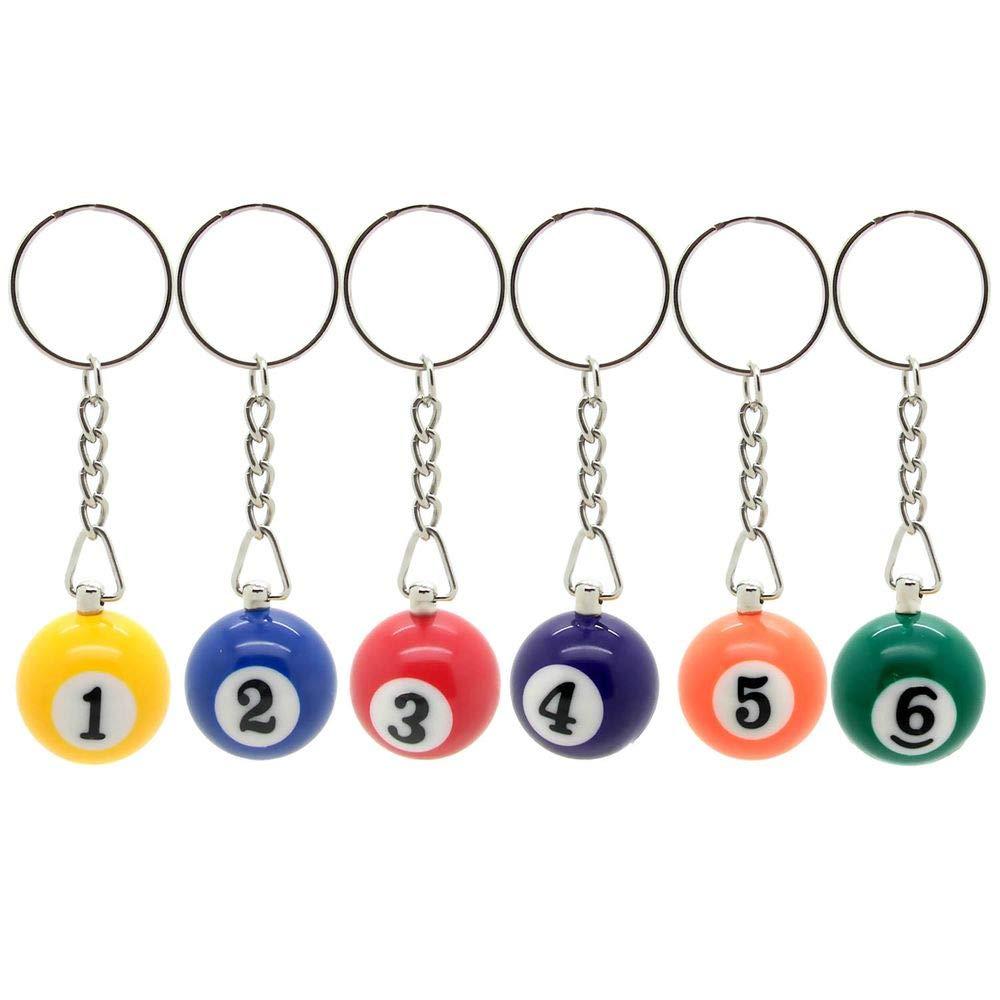 6 llavero bolas de billar carambola colgante con anillo ...