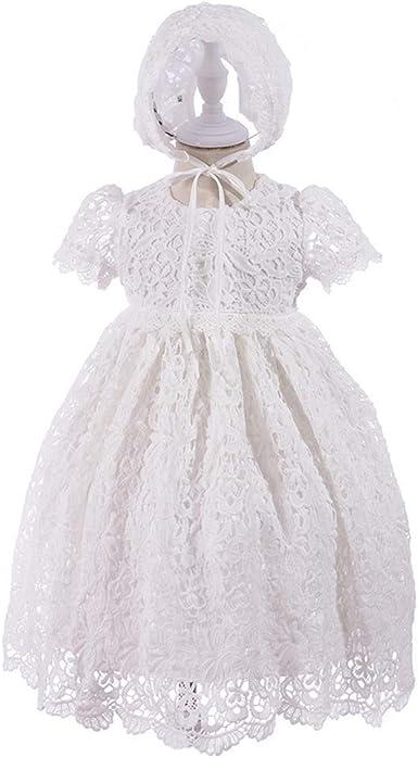 new girl baptism christening white dress w bonnet 12m 24m