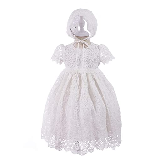 5371a902e6691 HX Baby Girl's Princess Lace Short Sleeve Christening Baptism Gowns Long  Dress with Bonnet