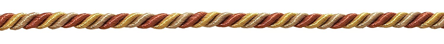 Small RUST GOLD Baroque Collection 3/16' Decorative Cord Without Lip Style# 316BNL Color: CINNAMON TOAST - 6122 (Sold by The Yard)