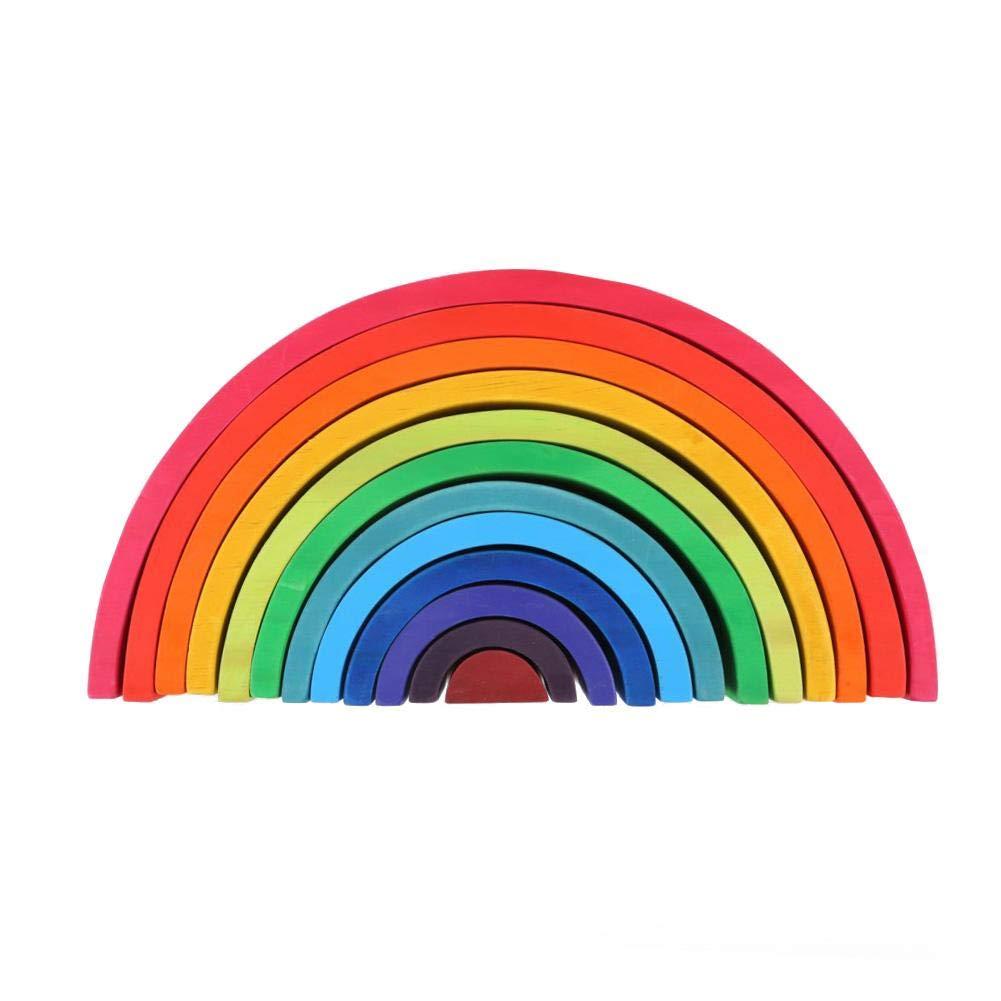 G-wukeer Impilabile arcobaleno in legno Gioco Impara giocattolo Geometria Building Blocks Accatastatore Stacker Giocattoli educativi coloreati Puzzle per bambini Toddlers bambini Bambini (12 pz)