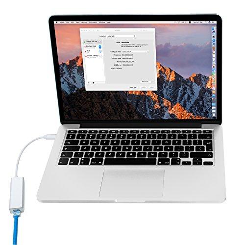 USB-C Gigabit Ethernet Network Adapter, 10/100/1000 Mbps Compatible Aluminum Portable RJ45 Network Converter, for MacBook Pro, XPS, ChromeBook Pixel and More by amkle (Image #2)