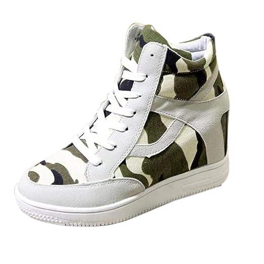 7e374ecdacdd5 DENER Women Ladies Girls Platform Wedge Sneakers,High-Top Camouflage Canvas  Hidden Heel Wide Width Casual Walking Shoes