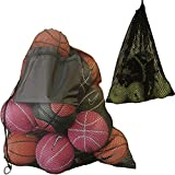 """2 Pack Mesh Ball Bag, Mesh Sports Equipment Bags - Heavy Duty and Extra Thick Drawstring 29"""" x 38"""" Sport Mesh Ball Bag With Shoulder Strap and Front Pocket and Sport Mesh Equipment Bag 14"""" x 18"""