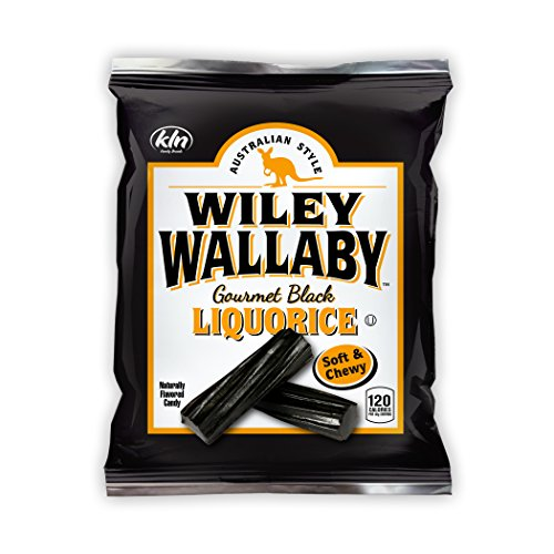 Licorice Calories Black (Wiley Wallaby Australian Style Gourmet Licorice, Soft and Chewy Candy, Fat Free, Low Calorie, Low Sugar, Kosher, Vegan, 4 oz Bags, 16 Count (Black Licorice))
