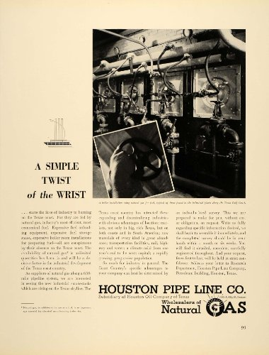 1939 Ad Houston Pipe Line Natural Gas Company Texas Oil - Original Print Ad from PeriodPaper LLC-Collectible Original Print Archive