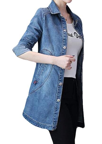 1389bd17dd4 GRMO Women Long Sleeve Longline Plus Size Slim Fit Thin Jean Denim Jacket  at Amazon Women s Coats Shop