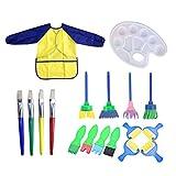 Healifty 18Pcs Painting Tools Set Paint Brush Palette Painting Sponge Paint Roller Apron