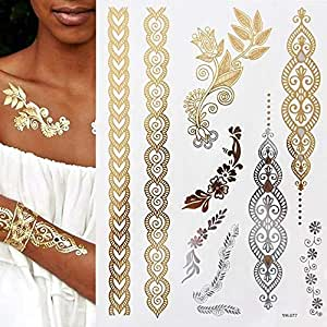 7pcs Tatuaje Tatuaje Tatuaje Tatuaje minimalista oro metálico de ...