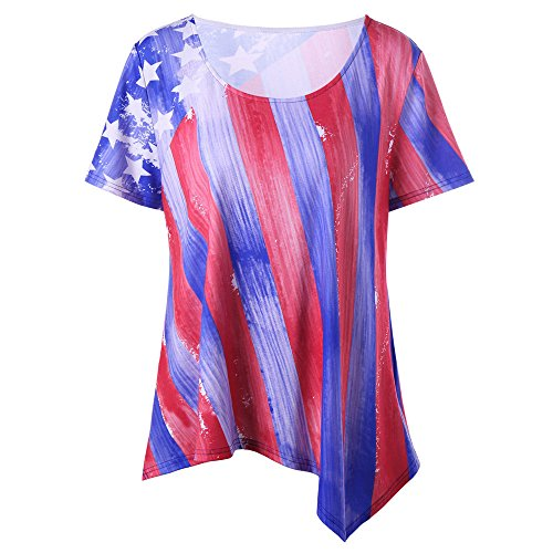 Haluoo Women's American Flag Tee Shirts, Short Sleeve 4th July Patriotic USA Flag T-Shirt Flower Printed Blouse 3D Graphic Independence Day Tops Plus Size (XXXX-Large, Style 1)