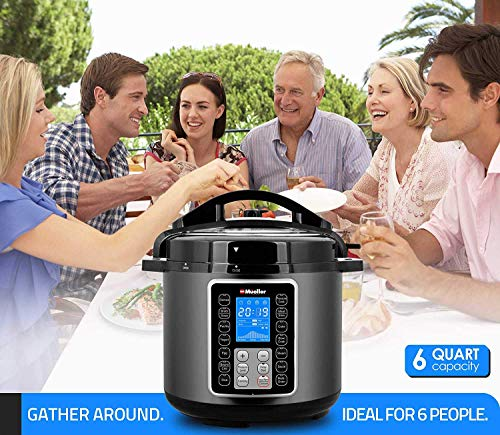 Mueller UltraPot 6Q Pressure Cooker Instant Crock 10 in 1 Pot with German ThermaV Tech, Cook 2 Dishes at Once, BONUS Tempered Glass Lid incl, Saute, Steamer, Slow, Rice, Yogurt, Maker, Sterilizer by Mueller Austria (Image #4)