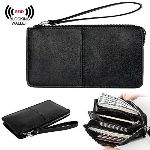 YALUXE Womens Leather RFID Blocking Zipper Clutch Wristlet Wallet for iPhone 8 Plus/Galaxy S5