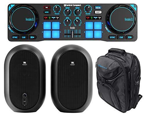 Hercules DJControl Compact USB 2-Deck DJ Controller Mixer+JBL Monitors+Backpack ()
